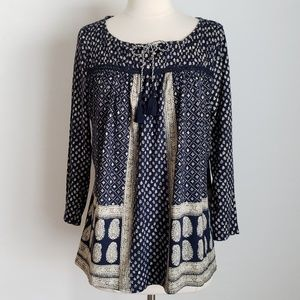 Lucky Brand Floral & Paisley Blue Boho Tunic Top